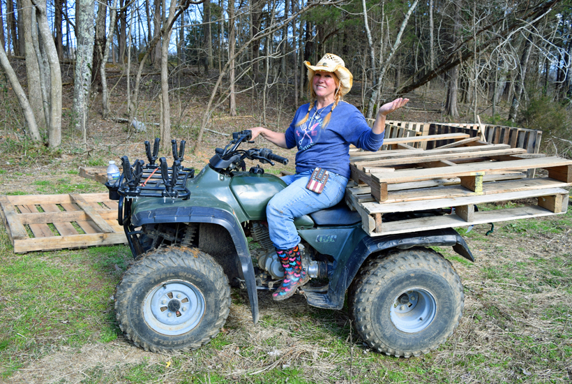 Riding an ATV with pallets 5dogfarm