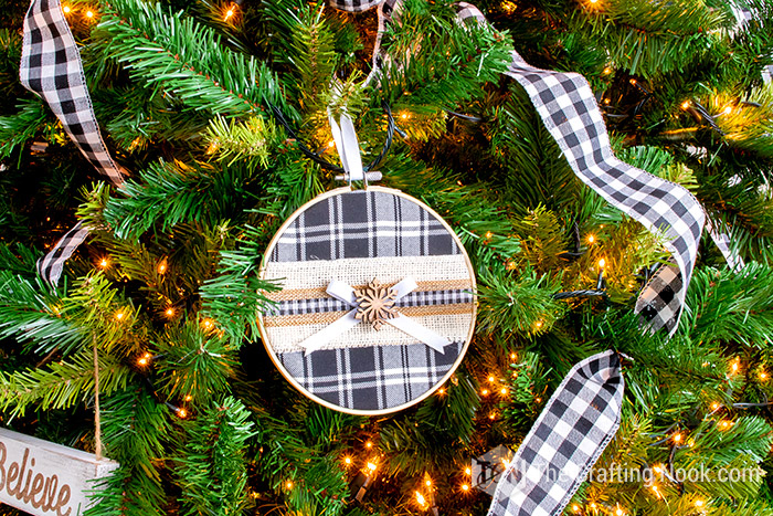 black and white check holiday ornament