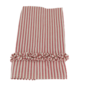 Folded red ruffled ticking towel