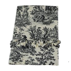 toile ticking tea towel folded