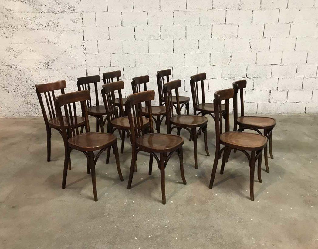 rare ensemble 68 chaises bistrot baumann dossier haut