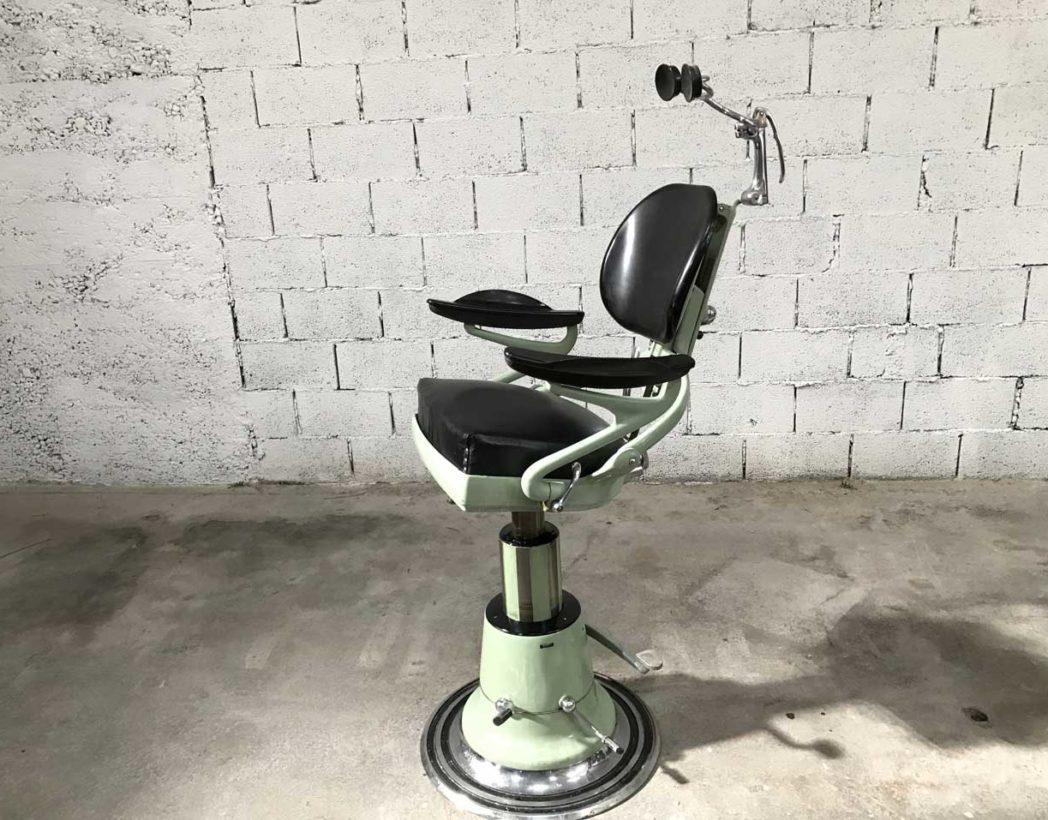 ancien fauteuil de dentiste en fonte emaillee corno 1950