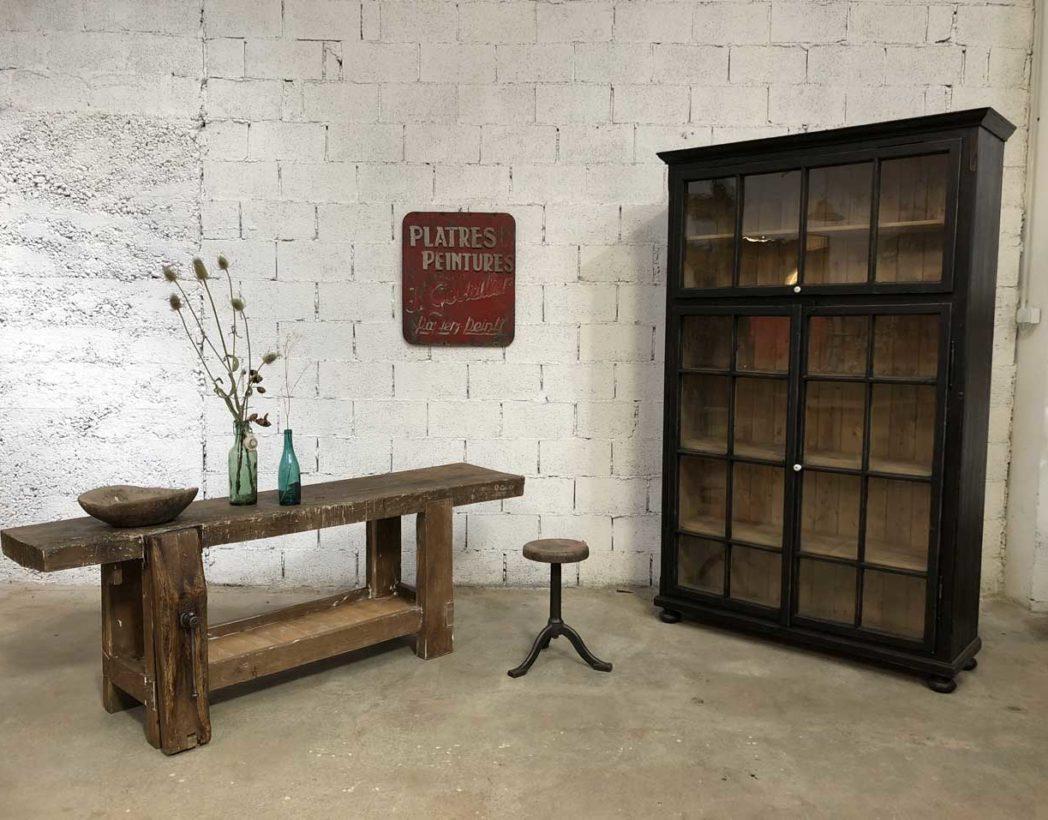 ancienne bibliotheque vitree patine noire 3 portes