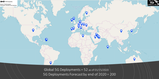Map - 5G Deployments 01-15-2020