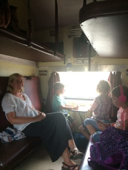 Taking the train in India with kids