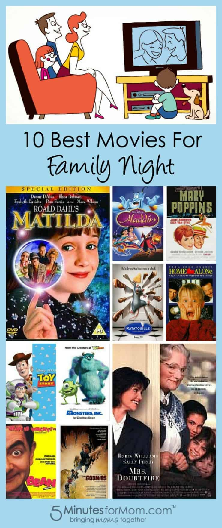 10 Best Movies for Family Nights 5 Minutes for Mom