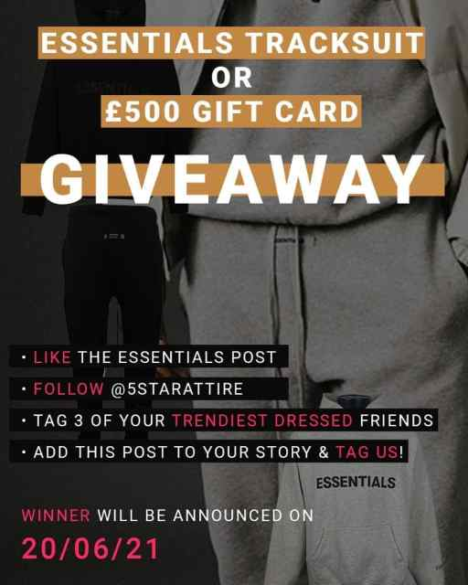 🚨 JUST A FEW WEEKS LEFT • WIN A TRACKSUIT OR £500 GIFT CARD IN OUR INSTAGRAM GIVEAWAY! 🚨  For a chance to win all you have to do is:  • Like this post  • Follow @5starattire • Tag 3 of your trendiest dressed friends • Add this post to your story & make sure you tag us!   The winner will be announced on 20/06/21 on IG live! 𝗚𝗢𝗢𝗗 𝗟𝗨𝗖𝗞! 💫