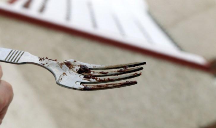 chocolate lava cake of 5starcookies - Empty fork