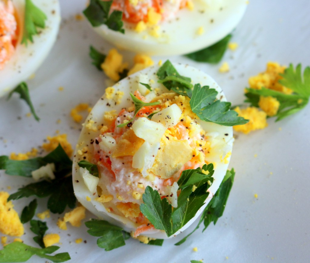 Deviled Barbie Eggs from the best food blog 5starcookies-decorate with Italian parsley,garlic and egg yolks