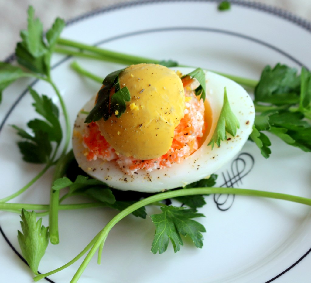 Deviled Barbie Eggs from the best food blog 5starcookies-decorate with Italian parsley,garlic and enjoy