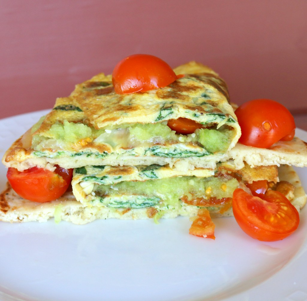 The best breakfast fab omelet -eggs, spinach, cheese and more