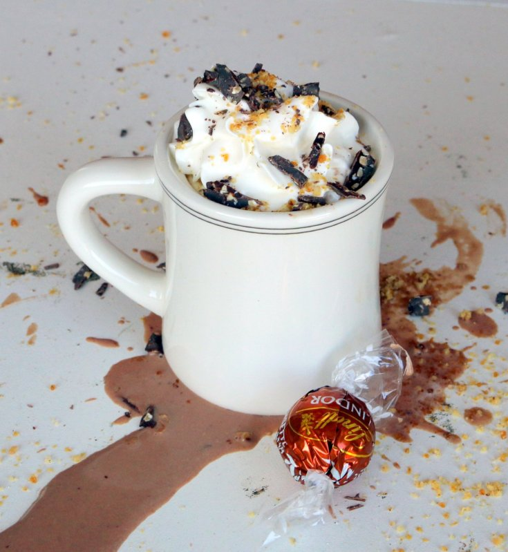 Lindor Hazelnut Hot Chocolate is deliciously warm and thick.  Like the chocolate blanket for your soul.  Fast and easy to make or if you are number person 15 minutes is the answer.