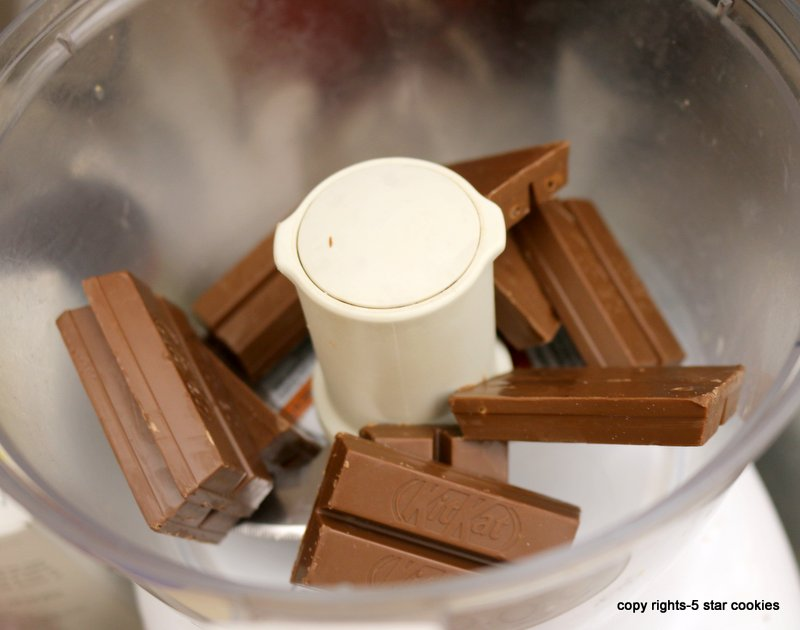 Ground Kit Kat chocolates in a food processor