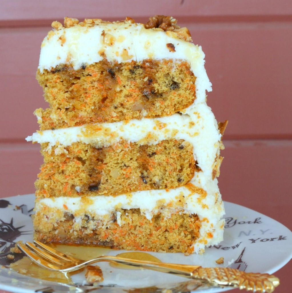 moist carrot cake with maple cheese filling