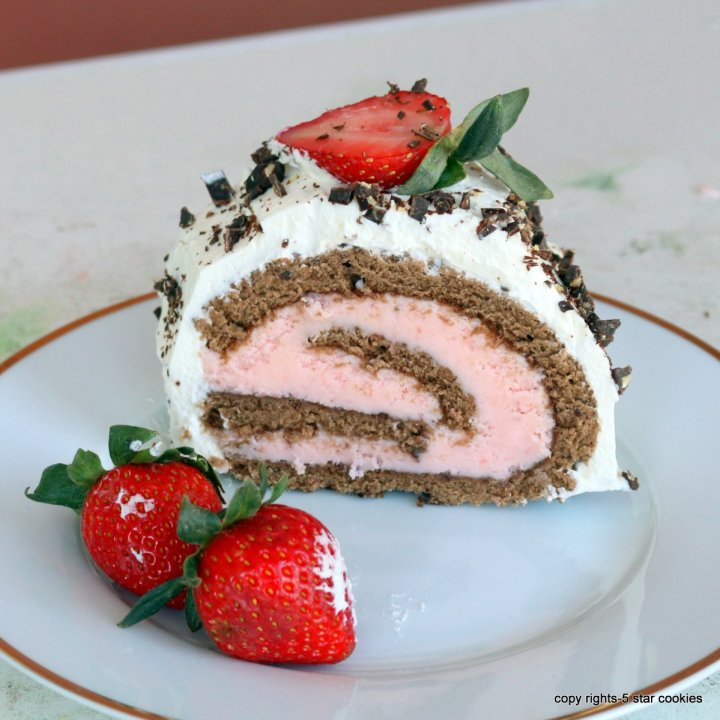 The Best Strawberry Chocolate Roll Cake
