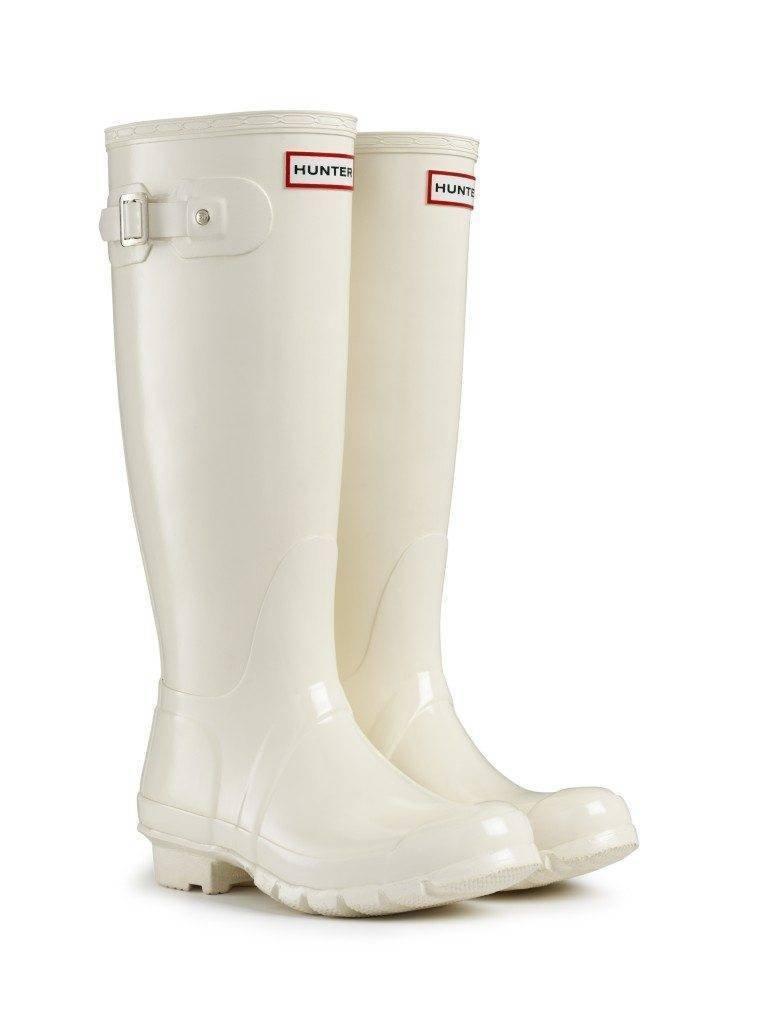 Hunter White Enamal Wellington Boots