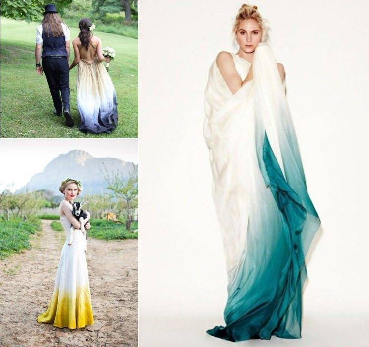 You can dip dye many different styles to personalise your dress