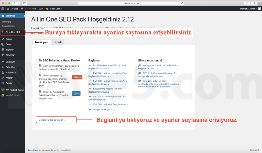Wordpress all in one seo kurulıum ayarlar baglantisi