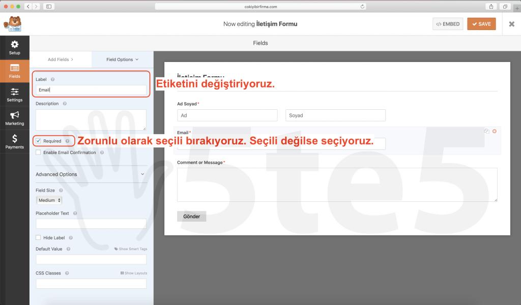 wp forms iletisim formu email düzenlemek