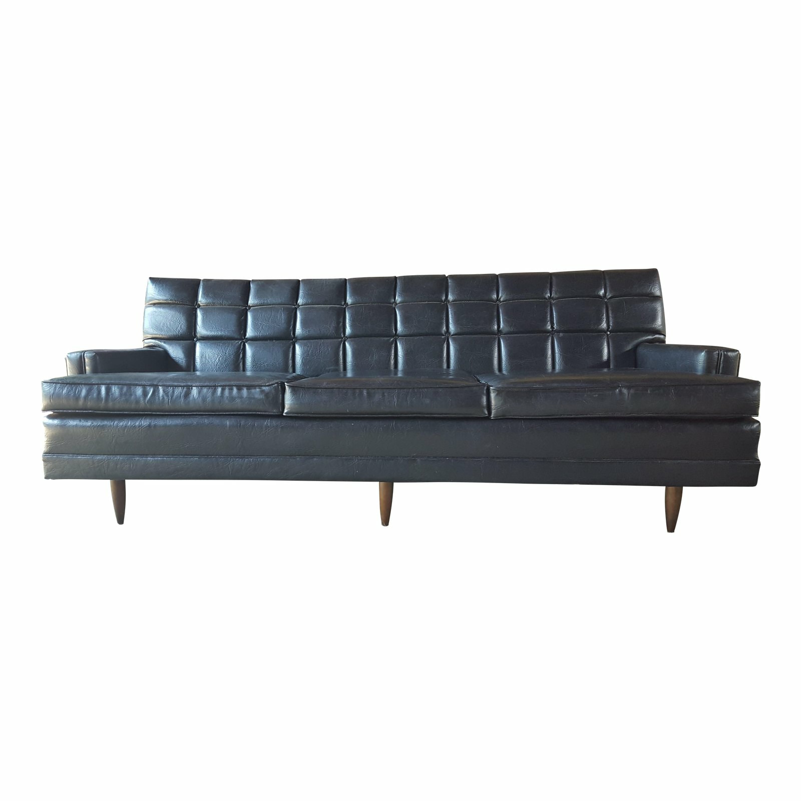 Mid Century Modern Black Naugahyde Leather Like Vintage Sofa
