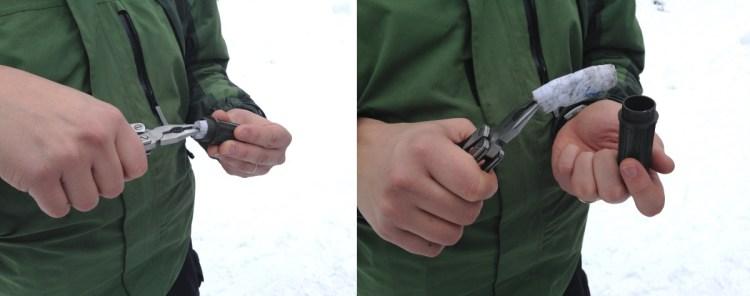 Kuva 2 - Pihdeillä on kätevä ottaa jäätynyt logikirja ehjänä esiin mikropurkista.