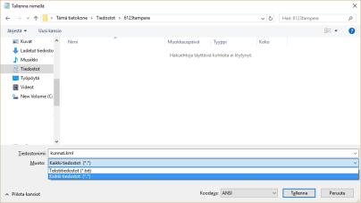 Kuva 7 - Nimeä tiedosto: Valitse kaikki tiedostot ja kirjoita tiedoston nimeksi esim. kunnat.kml