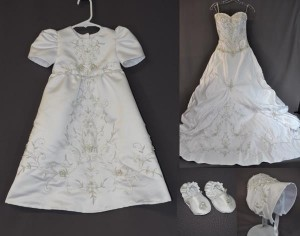 Baptism Outfit From Train of Mom's Wedding Dress