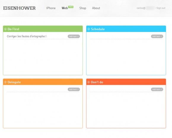 l'interface graphique de Eisenhower version Web