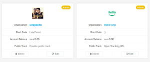 Organisation's Public Track Page