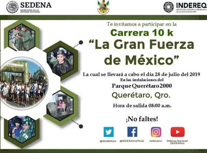 """Participa en la Carrera 10K """"La Gran Fuerza de México, en el Querétaro 2000 este 28 de julio"""