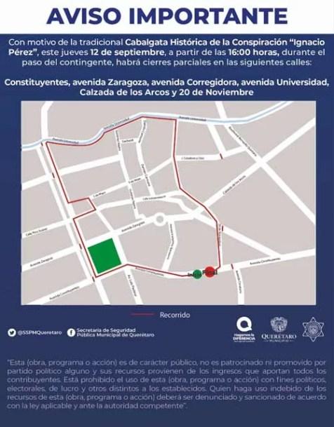 12 y 13 de septiembre habrá cierre vial en Centro Histórico de Querétaro por Fiestas Patrias 2019
