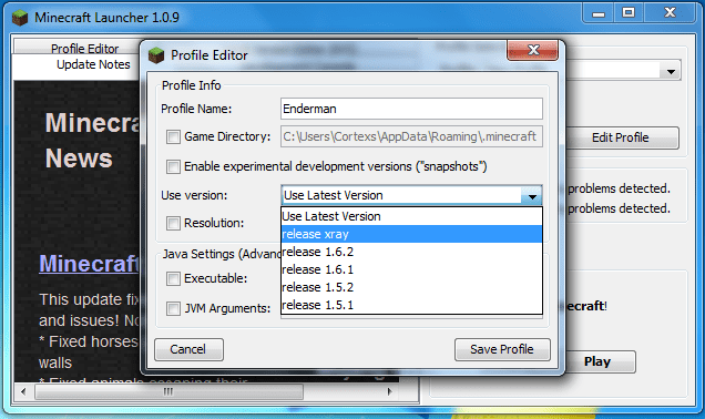 minecraft launcher profile edit