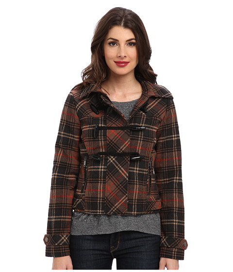 dollhouse - Hooded Zip-Front Bomber w/ Toggle Closings (Avril Plaid) Women's Coat
