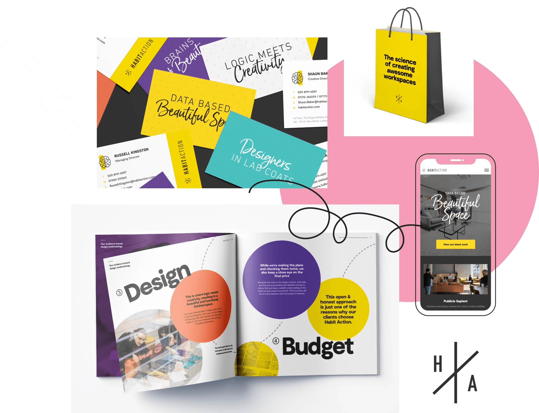 Branded brochure, bag, business cards and website deliverables for Habit Action
