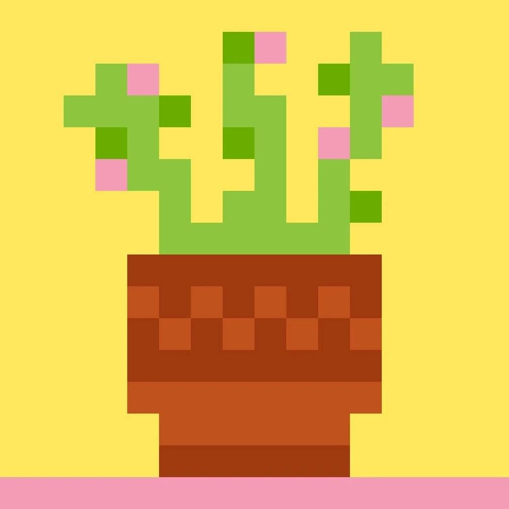 Cactus in a pot pixel illustration