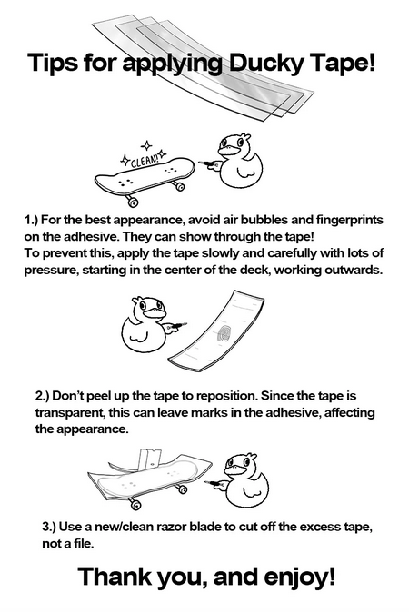 Application instructions for ducky fingerboard tape
