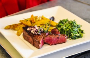 Valentine Meal For Two….Filet Mignon with Shallot Butter, Potatoes & Creamed Spinach…Less Than $20