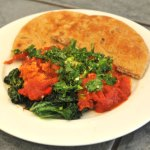 Spicy Tomato-Poached Eggs With Kale & Pita – $10 or Less Meal