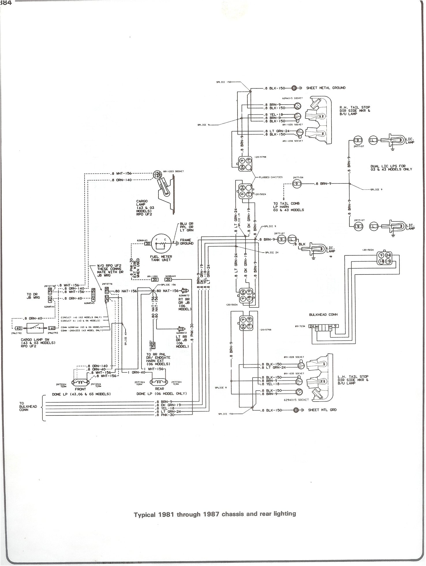 Plete 73 87 wiring diagrams 81 87 chassis and rear lighting at 2002 gmc sierra trailer wiring diagram