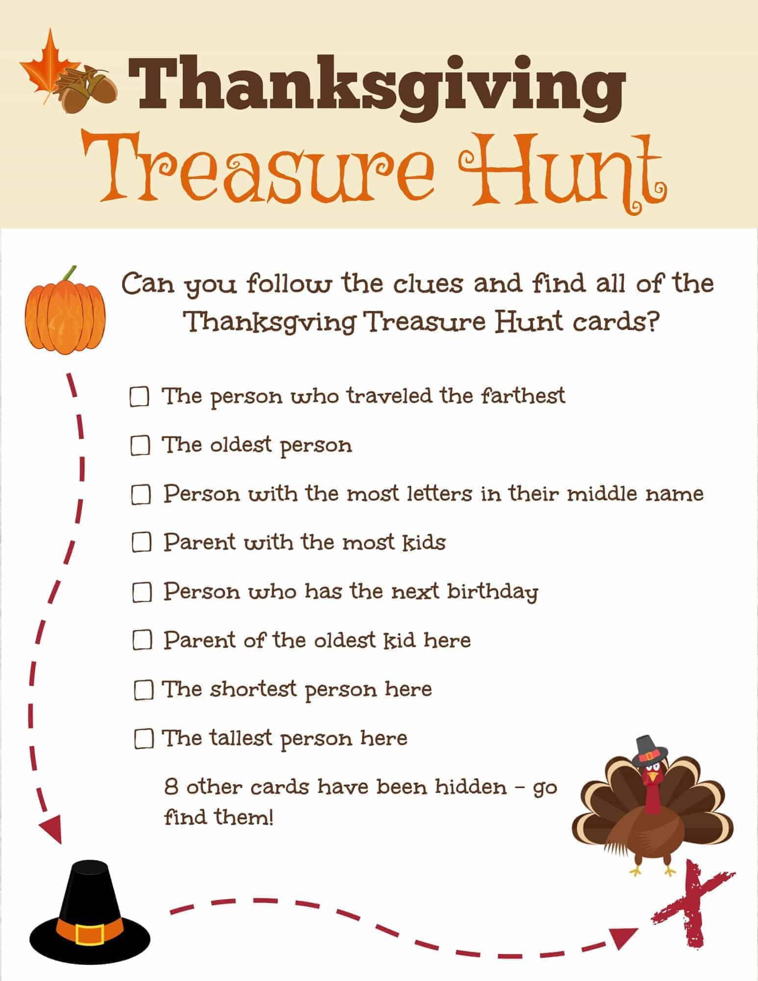 Thanksgiving Treasure Hunt Free Printable
