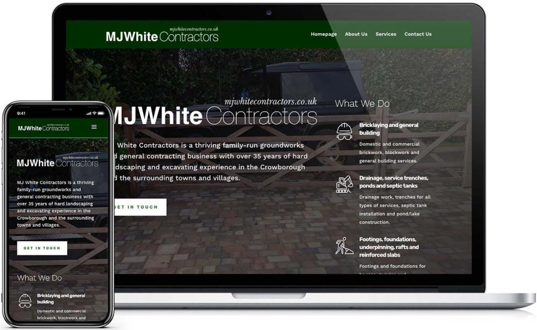 New desktop and mobile website design for MJ White Contractors
