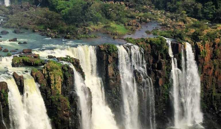 Boat ride into Iguazu Falls