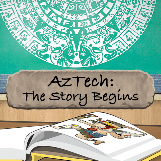 AzTech: The Story Begins - book on desk with picture of Mayan god-king