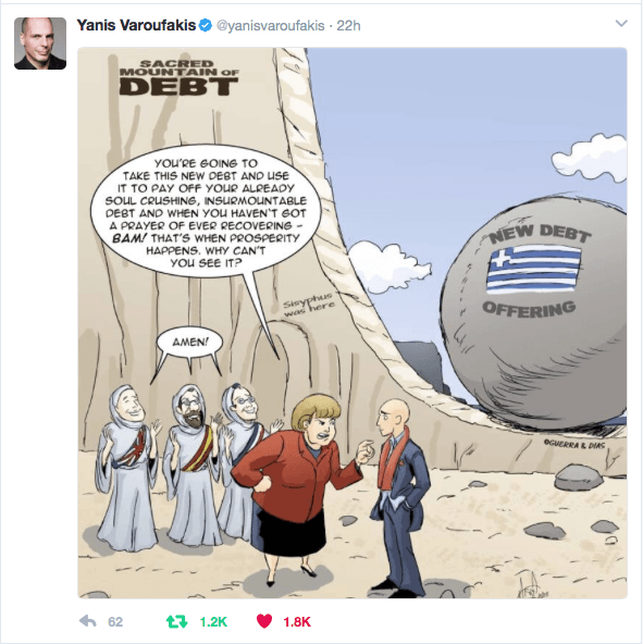 Yanis Varoufakis tweeted our Merry Felonies Greece Cartoon
