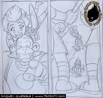 Wolf Boy (all-ages comic) pencils by Miguel Guerra