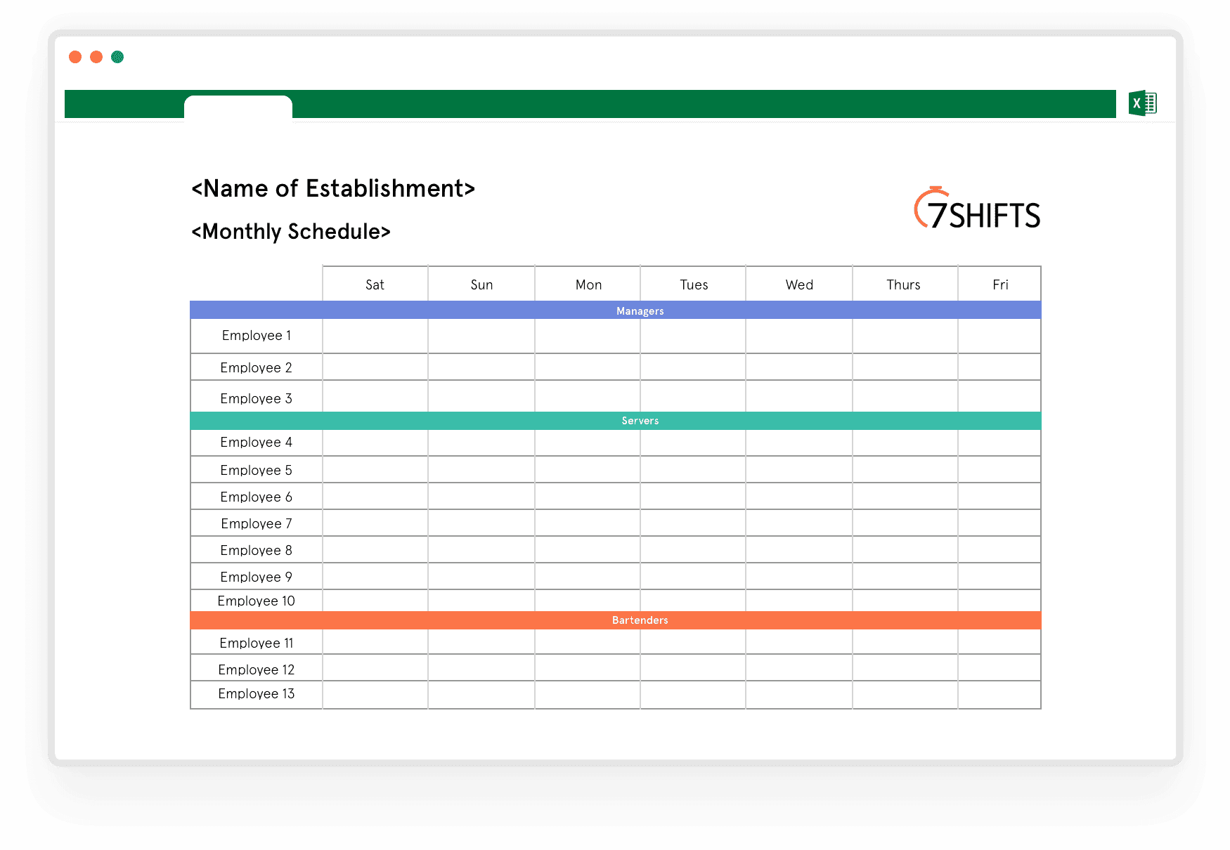 Free employee scheduling excel spreadsheet template download this shift schedule template and start organizing your employee shifts on excel. Download Free Monthly Work Schedule Template 7shifts 7shifts