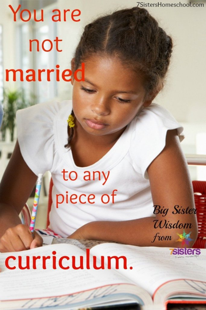 You are not married to any piece of curriculum.