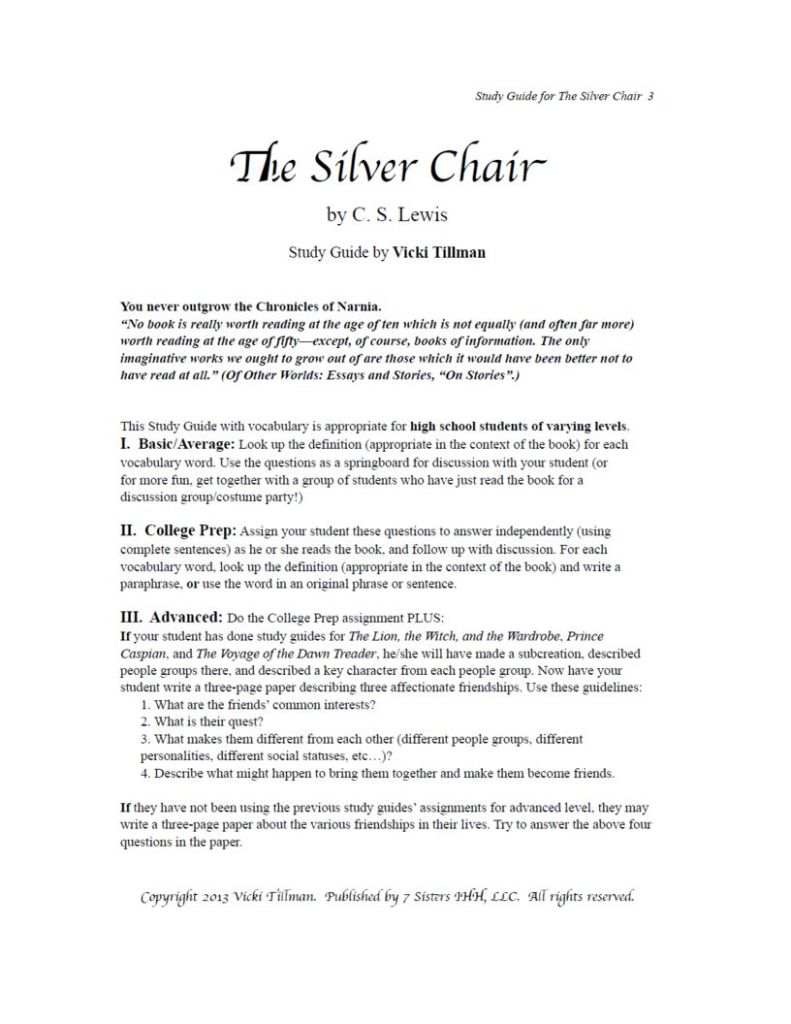 Excerpt from The Silver Chair Study Guide
