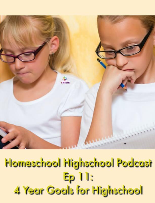 Homeschool Highschool Podcast Ep 11: 4 Year Goals for Highschool 7SistersHomeschool.com How to plan your homeschool high school.