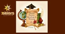 Help Teens Understand the World through World Poetry: Reading and Writing #HomeschoolWriting #HomeschoolPoetry #HomeschoolWorldLiterature This photo shows an illustration of a globe, scroll, graduation cap, books, quill pen and inkwell.